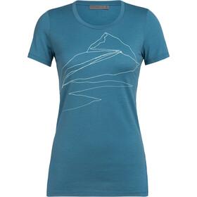 Icebreaker Tech Lite Sunrise Summit T-shirt manches courtes Col ras-du-cou bas Femme, blue spruce